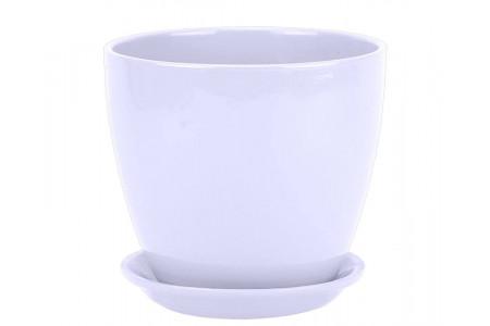 """Горшок для цветов керамический с поддоном """"Бутон"""" 18см Глянец белый ГЛ01/3"""