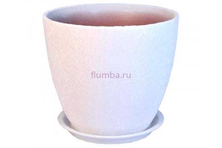 Горшок для цветов керамический с поддоном Винил белый 12см ВН 02/1