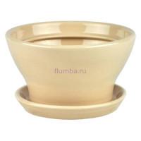Горшок для цветов керамический с поддоном Конус №6 d14,5см (беж)