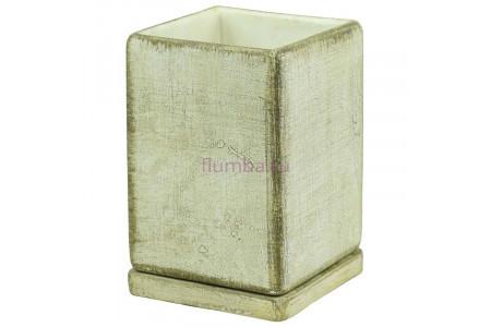 Горшок для цветов керамический с поддоном СК-хаки кубик высокий d12/h17см NK05/5