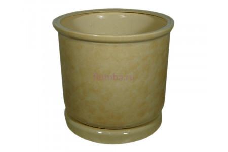 Горшок для цветов керамический с поддоном «Цилиндр №7» бежевый 40л