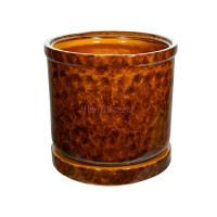 Горшок для цветов керамический с поддоном «Цилиндр №8» коричневый 57л