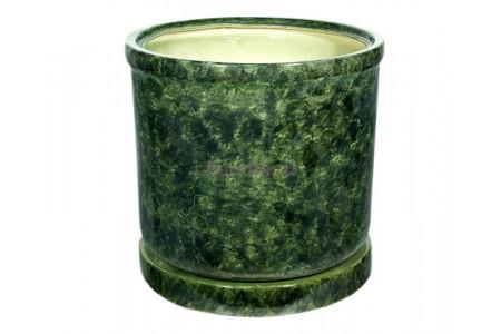 Горшок для цветов керамический с поддоном «Цилиндр №9» зелёный 78л