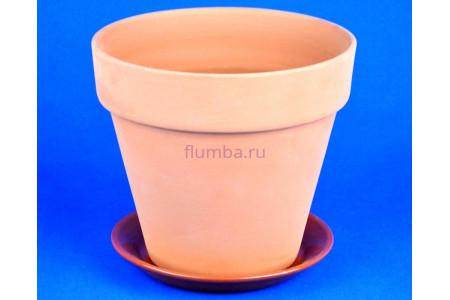 Горшок для цветов керамический с поддоном Конус 22см терракотовый ТР201/4