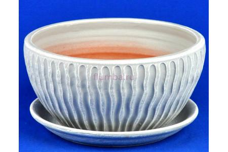 Горшок для цветов керамический с поддоном Мане плошка бел/сер.22см 4-18 (47-218)