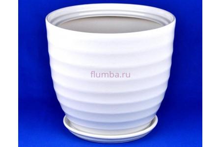 Горшок для цветов керамический с поддоном Кольца №1 d32см (бел)