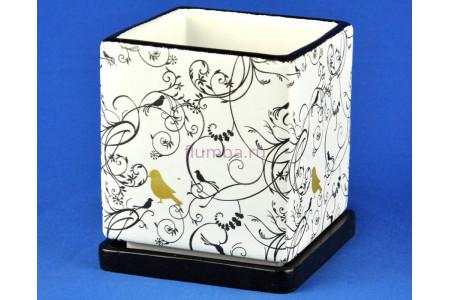Горшок для цветов керамический с поддоном Кубик Птица Золотая 2,4л (NK-40-2)