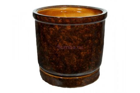 Горшок для цветов керамический с поддоном «Цилиндр №6» коричневый 31л