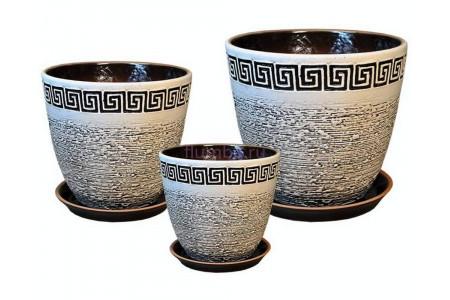 Горшки для цветов керамические в наборе Бутон Меандр бел.-черн.из 3-х ИВ 08