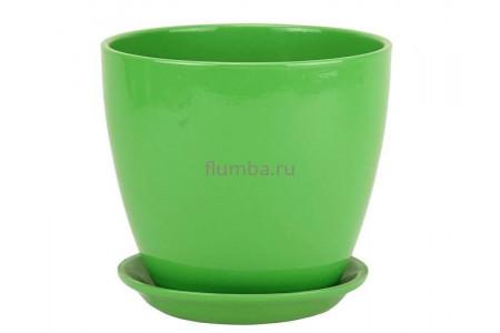 Горшок для цветов керамический с поддоном Бутон Глянец зеленый 10см ГЛ 03/0