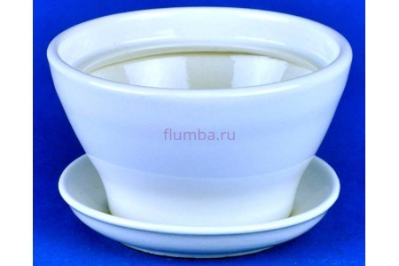 Горшок для цветов керамический с поддоном Конус №6 d14,5см (бел)