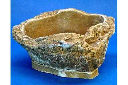 Горшок для цветов керамический с поддоном Монблан 0,5л темный песчаник (KM-04-2)