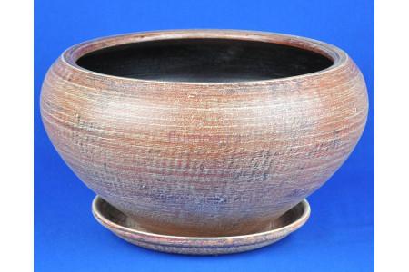 Горшок для цветов керамический с поддоном Бонсай 2 (беж) 2-201  4-01