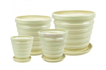 Горшки для цветов керамические в наборе Бамбук из 4-х (1,2,3,4)