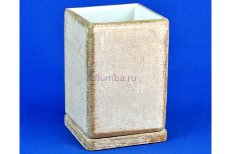 Горшок для цветов керамический с поддоном СК-кор кубик высокий d12/h17см (NK04/5)