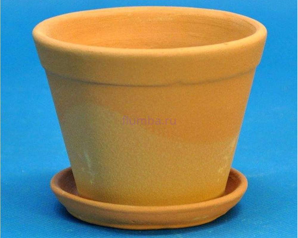 Горшок для цветов керамический с поддоном Юкка (тер) d 6,5см