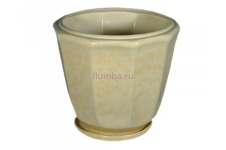 Горшок для цветов керамический с поддоном «Кашпо №4» бежевый 18л