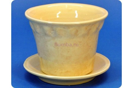 Горшок для цветов керамический с поддоном «Кактус б.» 0,3л бежевый