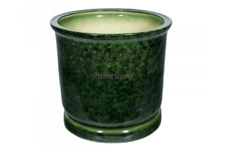 Горшок для цветов керамический с поддоном «Цилиндр №7» зелёный 40л