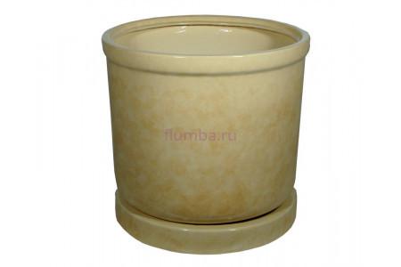 Горшок для цветов керамический с поддоном «Цилиндр №8» бежевый 57л