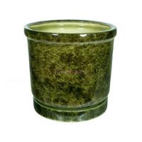 Горшок для цветов керамический с поддоном «Цилиндр №6» зелёный 31л