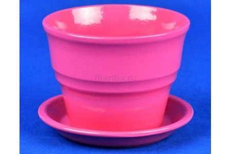 Горшок для цветов керамический с поддоном Колибри Глянец роз.10,5см ГЛ804/1