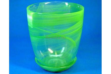 Горшок для орхидей стеклянный  «№3 алебастр  зеленый»